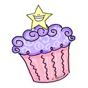 Cupcake with Smiley Star (purple)