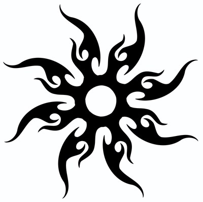 A cool tribal sun design in classic black looks great on any
