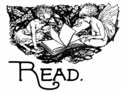 Two winged Fairies gather around a book, reading away their day.  A wonderful gift for that book geek you know.  Especially if they are a fan of fantasy books.  Done in a wonderful black and white design with the word 'Read' across the bottom.