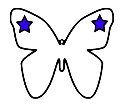 Tattooed Butterfly Blue Stars