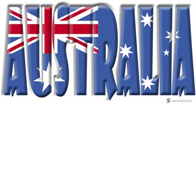 Word Art Flag of Australia by www.cafepress.com/CoolCups