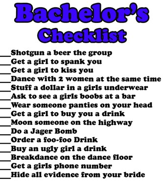 Bachelor Party Check List