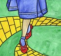 Judy Galand as Dorothy skips along the Yellow Brick Road in this wonderful illustration inspired by the Wizard of Oz.