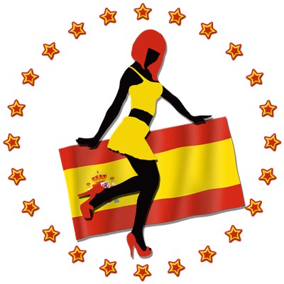 Sexy Girl and Flag of Spain by www.cafepress.com/CoolCups