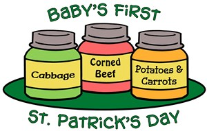 babys first st patricks day baby shirt