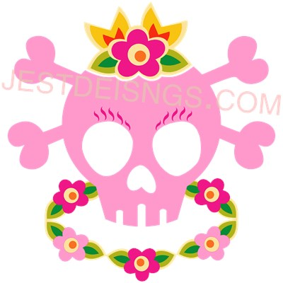 Hawaiian Pirate Princess Skull