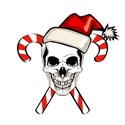 Christmas Skull and Candy Canes