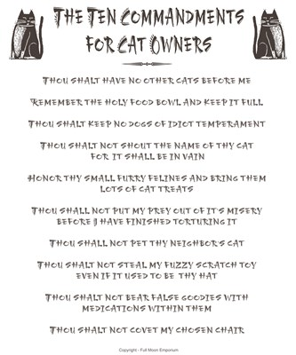 The 10 Commandments for Cat Owners