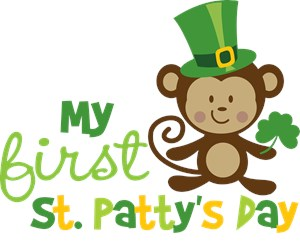 babys first st patricks day with monkey
