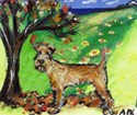 Irish Terrier Fall whimsical dog art design