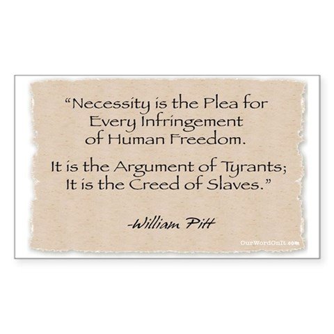: Necessity -Pitt Political Rectangle Sticker by CafePress