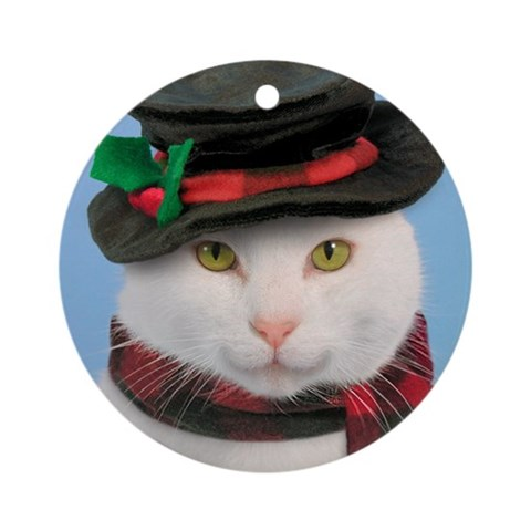 Snow-cat Ornament Funny Round Ornament by CafePress