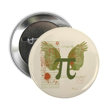 Winged Pi Button | Gifts For A Geek | Geek T-Shirts
