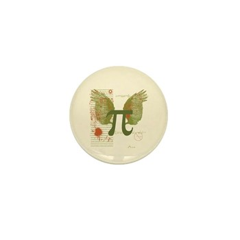 Winged Pi Mini Button | Gifts For A Geek | Geek T-Shirts