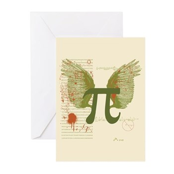 Winged Pi Greeting Cards (Pk of 10) | Gifts For A Geek | Geek T-Shirts