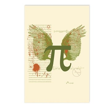 Winged Pi Postcards (Package of 8) | Gifts For A Geek | Geek T-Shirts