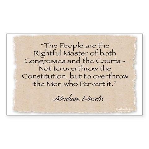 : Lincoln-Rightful Master Political Rectangle Sticker by CafePress