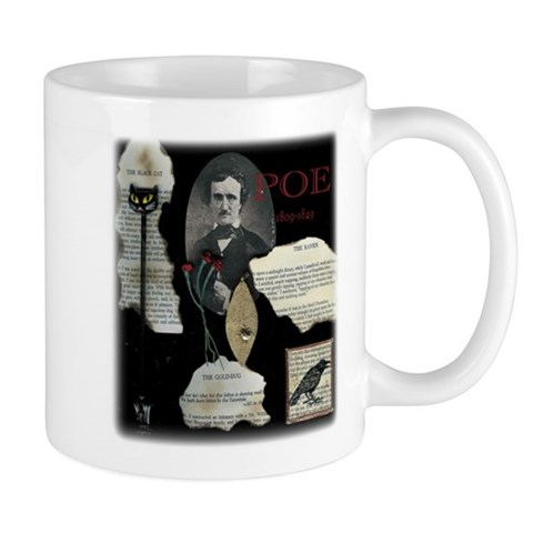 Poe Collage Coffee features The Raven Cat Mug by CafePress