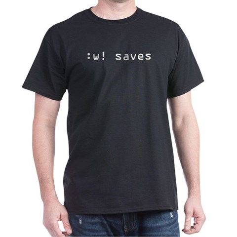 :w saves  Geek Dark T-Shirt by CafePress