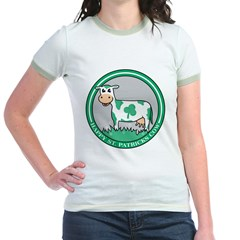 Happy St. Patrick's Cow Jr. Ringer T-Shirt