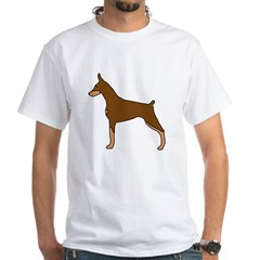 Red & Tan Doberman White T-Shirt
