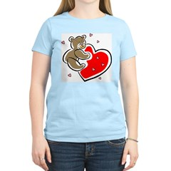 Teddy Bear with Heart Women's Pink T-Shirt