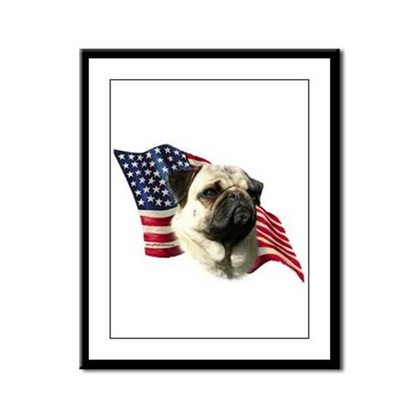 Pug Flag Framed Panel Print