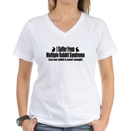 Multiple Rabbits Women's V-Neck T-Shirt