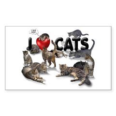 Sticker (Rectangular) I Love Cats