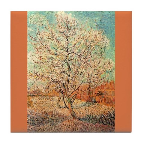 Van Gogh Ceramic Art Tile Peach Tree in Blossom Art Tile Coaster by CafePress