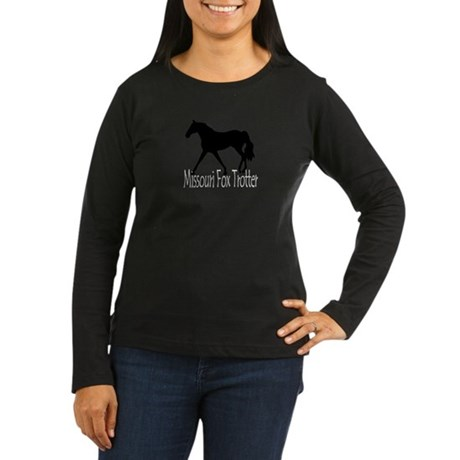 MO Fox Trotter (Black) Women's Long Sleeve Dark T-