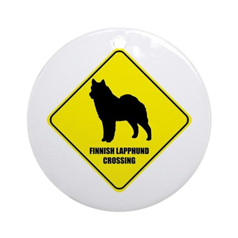 Lapphund Crossing Ornament Round Pets Round Ornament by CafePress