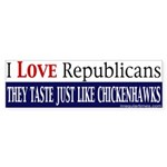 Taste Like Chickenhawks Sticker (Bumper)