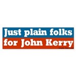 Just Plain Folks for Kerry Bumper Sticker