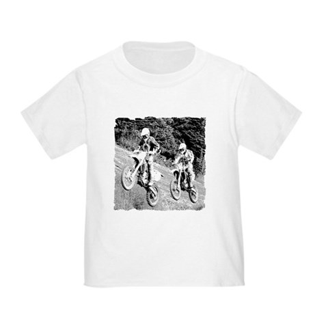 Two Dirtbikers Catching Air BW Toddler T- Sports Toddler T-Shirt by CafePress