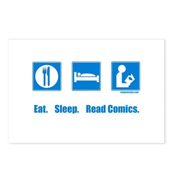 Eat. Sleep. Read comics Postcards (Package of 8) | Gifts For A Geek | Geek T-Shirts