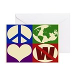 Peace, Earth, Love, Not W (Greeting Cards)
