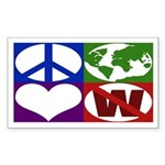 Peace, Earth, Love, Not W bumper sticker