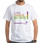 Saving Promise Icon with LIVE. TH White T-Shirt