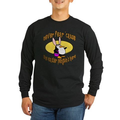 Product Image of Easter Penguin Bunny Long Sleeve Dark T-Shirt