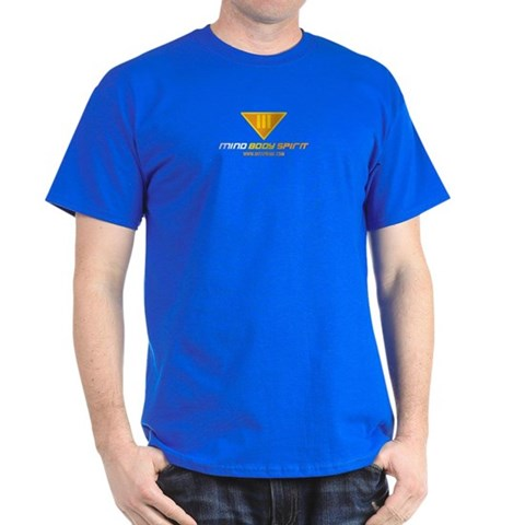 : Royal Blue/Yellow Peace Dark T-Shirt by CafePress