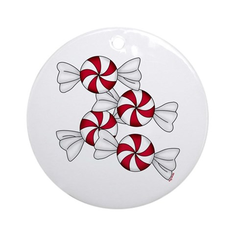 Peppermint Candy Ornament Round Christmas Round Ornament by CafePress