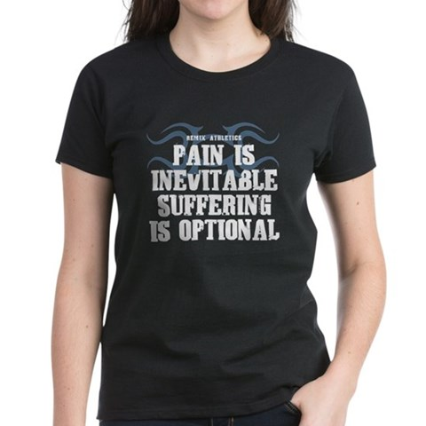 Product Image of Pain is Inevitable Slogan Women's Dark T-Shirt
