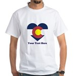 Colorado Flag Heart Personalized White T-Shirt