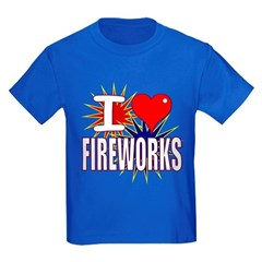 I heart fireworks Kids Dark T-Shirt