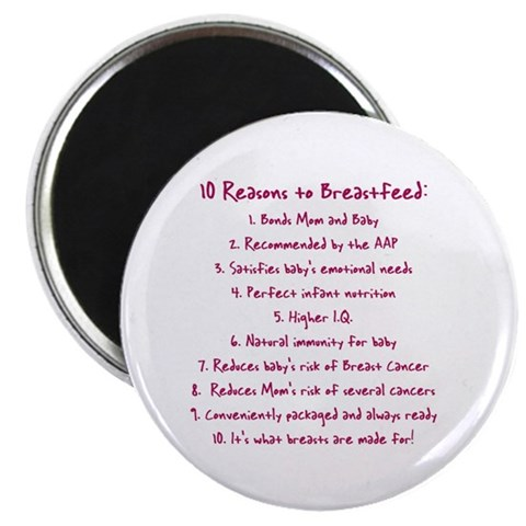 10 Reasons to Breastfeed  Cancer 2.25 Magnet 100 pack by CafePress
