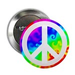 Rainbow Groovy Peace Sign Button