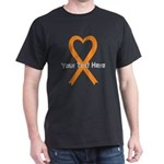 Personalized Orange Ribbon Heart Dark T-Shirt