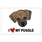 I Heart My Puggle Large Poster