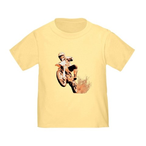 Orange dirtbike Sports Toddler T-Shirt by CafePress